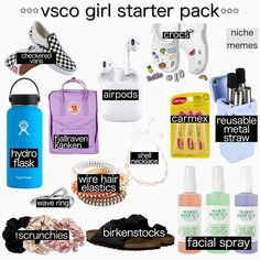 The rise of the VSCO girl hit its peak with people seeing the trend online. VSCO girls typically involve teenage girls who dress in oversized T-shirts, crop tops, scrunchies, and barely visible shorts. Basic White Girl, White Girls, White Girl Starter Pack, Fjallraven, Teenage Girl Gifts, Teen Gifts, Christmas Gifts For Teen Girls, Birthday Gifts For Teens, Christmas List Ideas