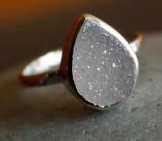 Silver White Agate Druzy Ring - Teardrop - Sterling, Stacking Ring. $62.00, via Etsy.