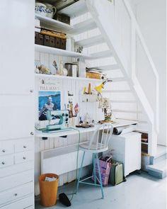 office nook under stairs