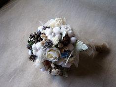 Rustic alternative wedding bouquet pine cone by FlowerDecoupage