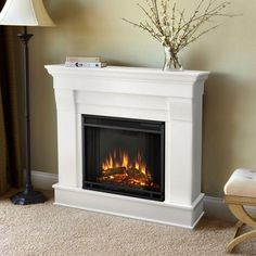 Real Flame Chateau 41 in. Electric Fireplace in White-5910E-W - The Home Depot