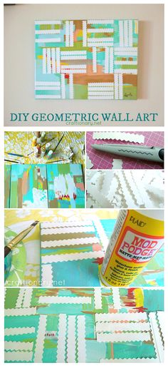Make a DIY geometric wall art with acrylic paints and paper in summery colors for a cool touch at home. Geometric Painting, Geometric Wall Art, Abstract Painting Techniques, Mod Podge Crafts, Painting Patterns, Canvas Wall Art, Diy And Crafts, Craft Projects, Touch