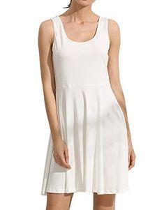 2742cbc4be8b0 ROMWE Women s Summer Beach Cotton Sleeveless Flared A Line Swing Tank Dress  White L Tank Kleid
