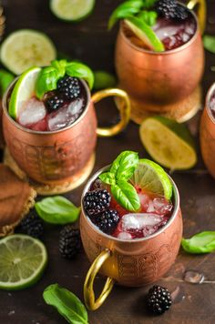 Blackberry Basil Moscow Mules. If you're a Moscow Mule fan, you're going to love this vibrant, simple spin on the popular cocktail!
