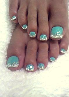 if mermaids had toenails... ;) crystal pedicure art