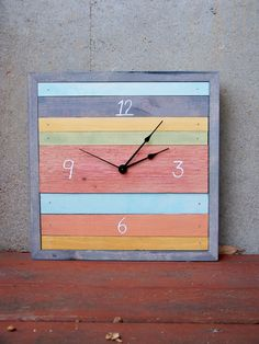 Pastel colors, but maybe as a background?  Re-pinned: reclaimed wood colorful clock. Must make!!