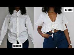 clothes refashion no sew DIY V-Neck Ruffle Hem Top Fashion Sewing, Diy Fashion, Fashion Outfits, Fashion Clothes, Casual Outfits, Tops Diy, Costura Fashion, Trash To Couture, Diy Clothes Refashion