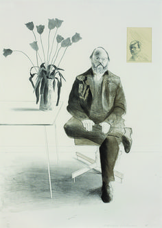David Hockney, 'Henry Seated with Tulips' Lithograph, 1976.
