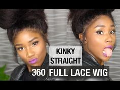 NATURAL HAIR PROTECTIVE STYLE 360 LACE WIG | KINKY STRAIGHT | WWW.MYFIR...