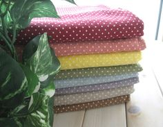 """Cotton Linen Fabric - Red Pink Brown Green Blue Purple White Small Polka Dots Linen Cotton Fabric Cloth FAT QUARTERS Set 8's 26 x 18 """" Each"""