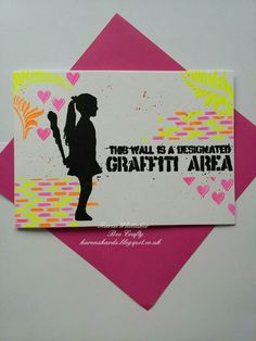 Girl with club Inspired by Banksy stamps from Bee Crafty  #beecraftystamps #dtsample #inspiredbybanksy #girlwithclub #graffitiarea #graffiti #neon  #dinkables #stamps #cardmaking #craft #creative #creativity #karenzkardz