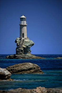 Phare Tourlitis lighthouse (built in ~ Andros Islands, Greece Lighthouse Pictures, Lighthouse Art, Beacon Of Light, Jolie Photo, Places To See, Santorini, Cool Photos, Amazing Photos, Beautiful Places