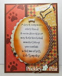 Inspiration Monday A Loyal Companion.  See my blog post for details about these stamps  http://cardsandpaperfun.blogspot.com/2014/05/pprs-loyal-companion.html