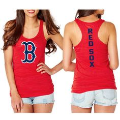 Boston Red Sox Women's Front And Back Hit Tri-Blend Tank Top - Red