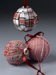 A simple, DIY Fabric Ornaments with style. Rag Ball Ornaments on CraftsnCoffee.com.