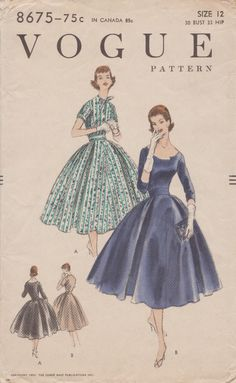 Vogue 8675 / Vintage 50s Sewing Pattern / Dress / Size 12 Bust 30 by studioGpatterns on Etsy https://www.etsy.com/listing/254321360/vogue-8675-vintage-50s-sewing-pattern