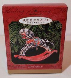 Hallmark Keepsake Ornament Zebra Fantasy 1999 Rocking Horse Handcrafted