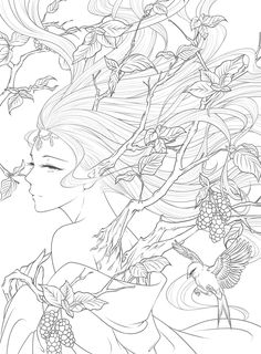 Chinese Coloring Book Line Sketch Drawing Textbook Vintage Ancient Beauty Painting Adult Anti Stress Coloring Books Anti Stress Coloring Book, Adult Coloring Book Pages, Cute Coloring Pages, Coloring Books, Coloring Sheets, Lineart Anime, Graffiti Kunst, Anime Drawings Sketches, Sketch Drawing
