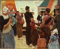 Een serenade te Volendam 1913 maker: Sluiter, Jan Willem (Willy) (1873-1949) #NoordHolland #Volendam
