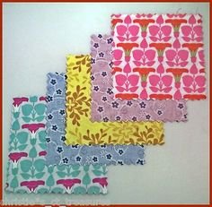"4""40 Morning Glory Quilting Cotton Fabric Squares Blocks Patchwork Kit Stash"