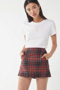 UO Red Checkered Pelmet Mini Skirt