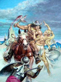 Original cover painting by Earl Norem from Savage Sword of Conan published by Marvel Comics, February Comic Book Artists, Comic Book Characters, Comic Books Art, Fantasy Characters, Comic Art, Dragons, Red Sonja, Mädchen In Bikinis, Conan The Barbarian