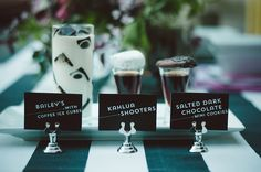 Coffee ice cubes in Bailey's...great idea.......Black and white wedding | Chantel Marie Photography | see more on: http://burnettsboards.com/2014/06/edgy-femininity-black-blush-wedding/