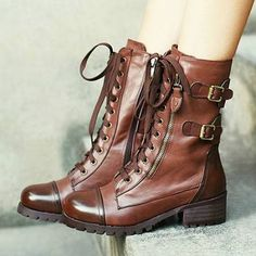 Cool Retro Lace-up Strap Buckle Motorcycle Over-the-ankle Booties