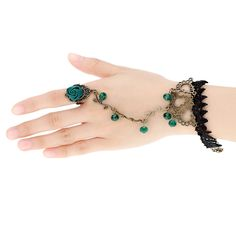 The green crystal is a symbol of mysterious and elegant. That is why#green crystal rhinestone rose flower bracelet jewelry is so popular. when you at a party, you hold a glass of wine with the green #crystal flower bracelet jewelry.The meticulous hollow lace, romantic rose ring and vine chain are very easy to catch eyes.You become attractive and your friends will keep asking where you get it. Linking ring can highlight your slim fingers. Never let the chance go!