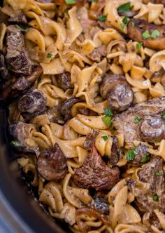 Super creamy mushroom and beef stroganoff made in your slow cooker!