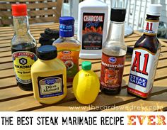 The best steak marinade ever. Not a fan of steak but never know when you need a good marinade Sauce Steak, Steak Marinade Recipes, Marinade Sauce, Grilling Recipes, Beef Recipes, Cooking Recipes, Brisket Marinade, Steak Rubs, Soy Sauce