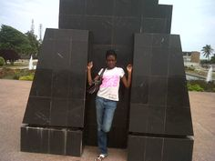 Me in my Pb top next to Kwame Nkrumah statue - gave Ghana Independence