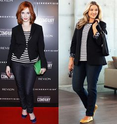 Christina Hendricks' casual chic outfit on the red carpet was a far cry from the retro glam wardrobe of the character she plays on Mad Men, femme fatale Joan Holloway. Recreate Christina's laid-back look with some key Sara items.