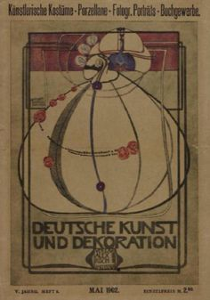 Deutsche Kunst und Dekoration cover by Margaret Macdonald, May 1902 (5th year, 8th volume). Pink, purple and black ink on paper; half-tone colour reproduction | GLAHA 41098