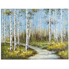 Slender white birches stand in vivid contrast to clusters of delicate yellow blooms against a perfect blue sky. Rich in detail and bold saturated color, this unique, hand-painted acrylic reproduction makes a strong statement. Is it speaking to you?