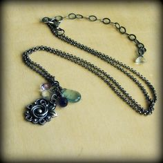Silver gemstone necklace bridal romantic by FiliGraceJewelry, $110.00