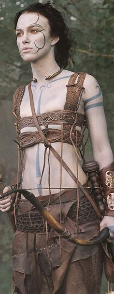 Keira Knightley as Guinevere ready for battle. I think that the Picts could have gone to battle in very light armour such as these, but in the case of the women, the breast protectors would've wanted to protect all their breasts, not to show them off. That's not the aim of a breast protector! Apart from that, it's realistic for a very light warrior.