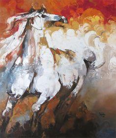 Pakistani Art Paintings - Horse Paintings, Abstract, Modern by fine artist Sajida Hussain Horse Oil Painting, Oil Painting Abstract, Artist Painting, Painting Prints, Horse Paintings, Art Prints, Abstract Print, Horse Artwork, Modern Artwork