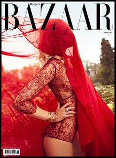 Nadia Serlidou by Koray Birand for Harper's Bazaar Turkey, June 2011. Red #lace #fashion #photography
