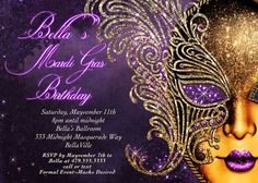 Masquerade Party Masquerade Invitation Mardi Gras by BellaLuElla