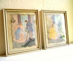 Pair of 1940s Ballroom Scenes Framed x/Convex Glass - ShabbyNChic, $39.50