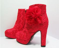 Red flower chunkey ankle boots