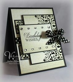 Birthday Card by Julee (Vervegirl) Stamp: Wishful Elegance Paper: Basic Black (SU) Le Creme (DCWV) Ink: Only Black - Versafine Accessories: Scorpal, Rhinestones and Polkadot Ribbon