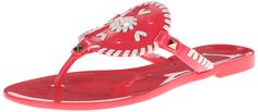 Jack Rogers Women's Georgica Jelly Sandal, Bright Pink/White *** Awesome product. Click the image : Jelly Sandals