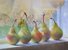 still life watercolor paintings | PEARS watercolor still life painting by Barbara Fox, original painting ...