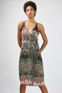 Mix Floral Wrap Slip Dress