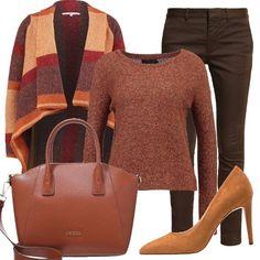I+colori+dell'autunno+sono+tutti+in+questo+outfit,+caldo+e+raffinato.+Il+pantalone+slim+verde+oliva+è+molto+bello+abbinato+alla+maglia+berry.+La+scarpa+che+ho+scelto+è+con+tacco+dai+toni+chiari+mentre+la+borsa+è+a+mano+color+cognac,+sempre+molto+capiente.+Pezzo+forte+di+questo+look+il+cardigan+multicolor.+Un+insieme+davvero+glamour.