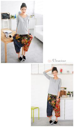 Flower Pattern Panel Harem Pants - 59 Seconds | YESSTYLE