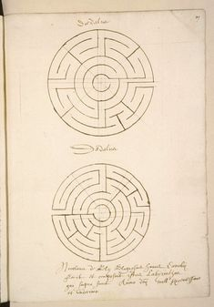 Losing yourself in a labyrinth Here is something special I happened upon by coincidence in a French database today. These unique drawings are found in a handwritten book from 1611 produced by Nicolas de Rély, a monk from Corbie. Unique Drawings, Easy Drawings, Labyrinth Maze, Labyrinth Garden, Maze Drawing, Architecture Tattoo, Medieval Manuscript, Easy Watercolor, Losing You