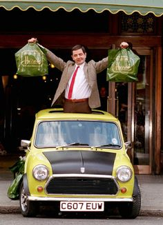 Mr Bean and the mini Mini Cooper Classic, Classic Mini, Classic Cars, Mini Morris, Mini Driver, Rock Lobster, Driving Instructor, Mr Bean, Mini One